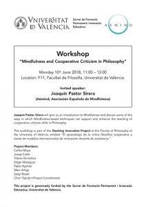"Workshop: ""Mindfulness and Cooperative Criticism in Philosophy"" @ F11, Facultat de Filosofia, Universitat de València"